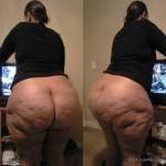Negra culo gordo arreglando la tv