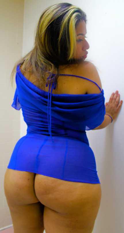 Sexy Latina Culona En Vestido Azul